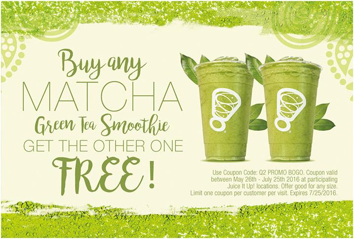 BOGO FREE MATCHA GREEN TEA SMOOTHIE DEAL RUNS THROUGH JULY 25 @ JUICE IT UP!