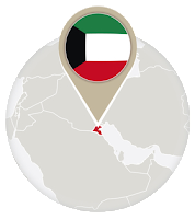 Kuwaiti flag and map