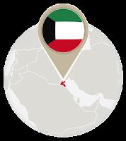 Kuwaiti flag and map