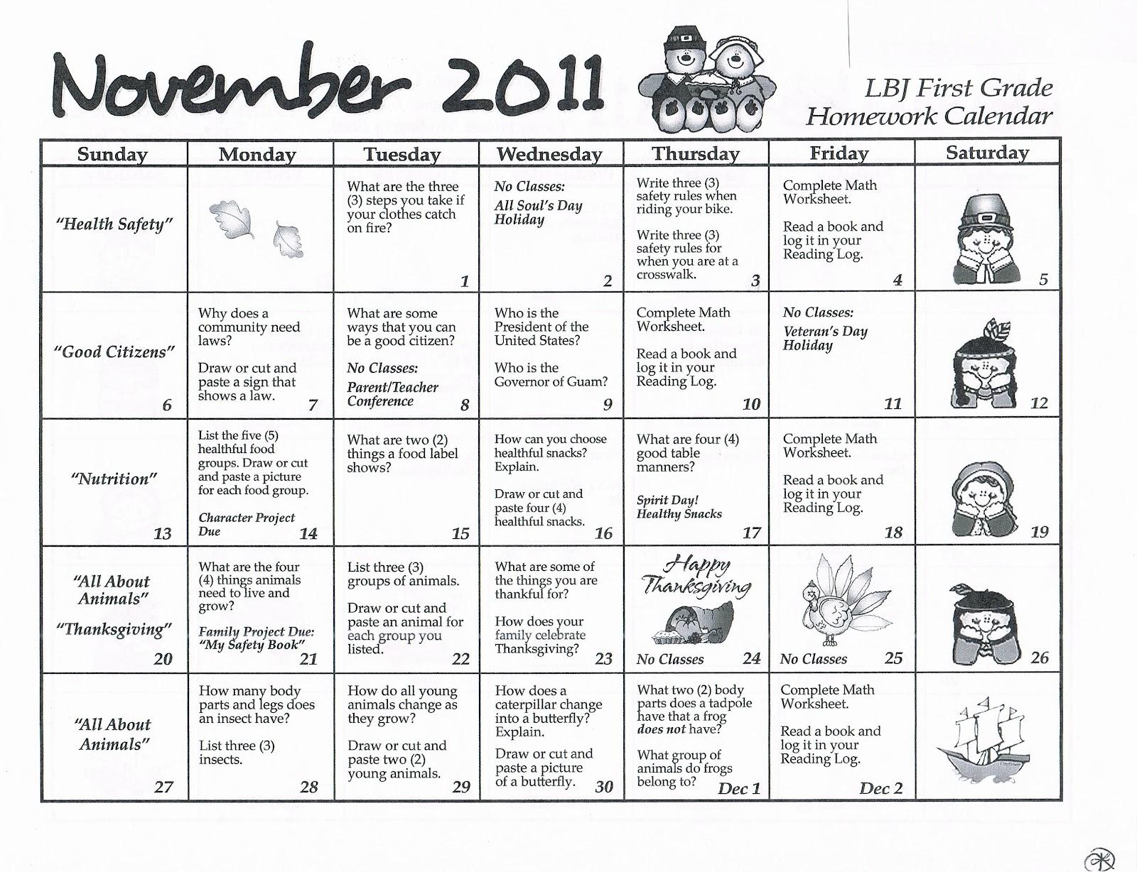 Homework First Grade Calendar