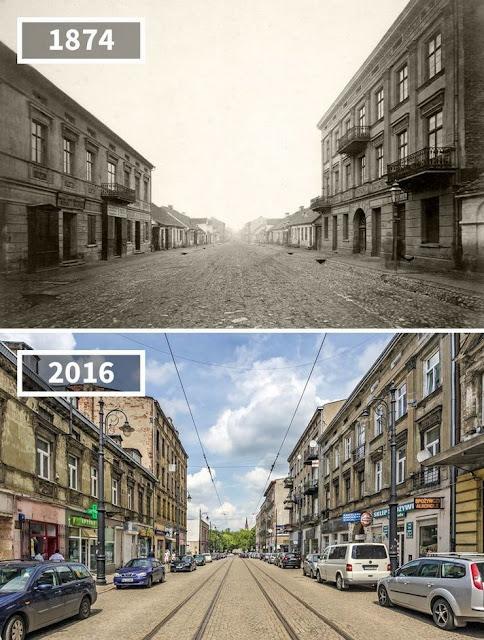Antes y después Calle Novomos'skaya, Lodz