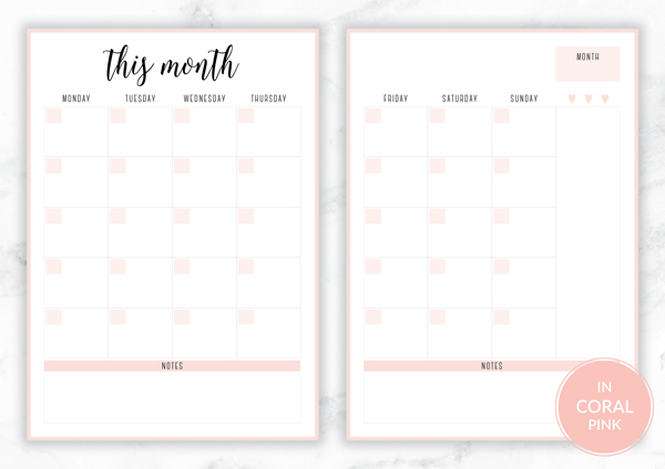 Free Printable Irma Monthly Planners by Eliza Ellis available in A4 and A5 sizes, as well as 6 pretty color themes! Shown here in the color Coral.