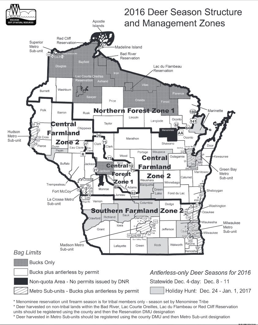 2016 Deer Management Zones