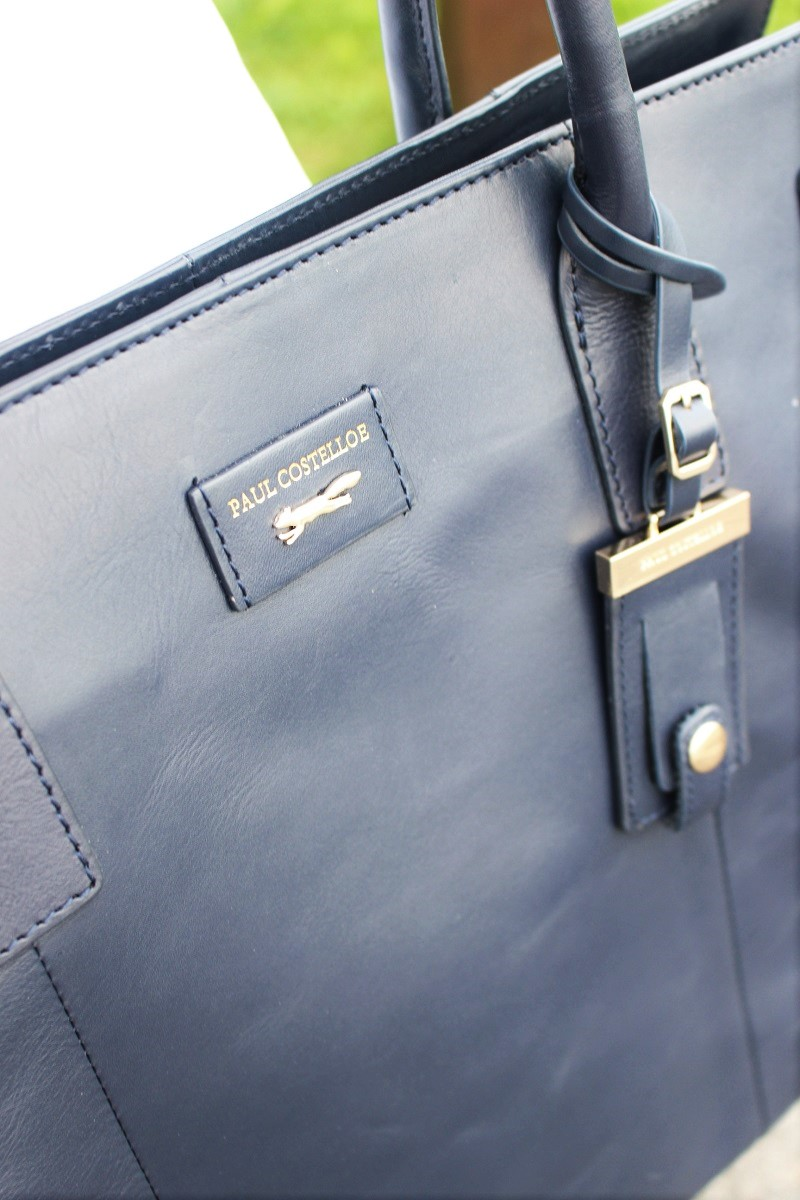 Paul Costelloe, leather bag, blue bag,