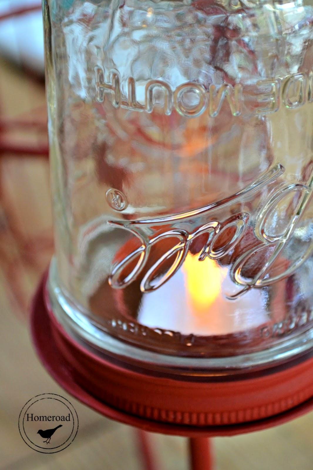 mason jar with tea light
