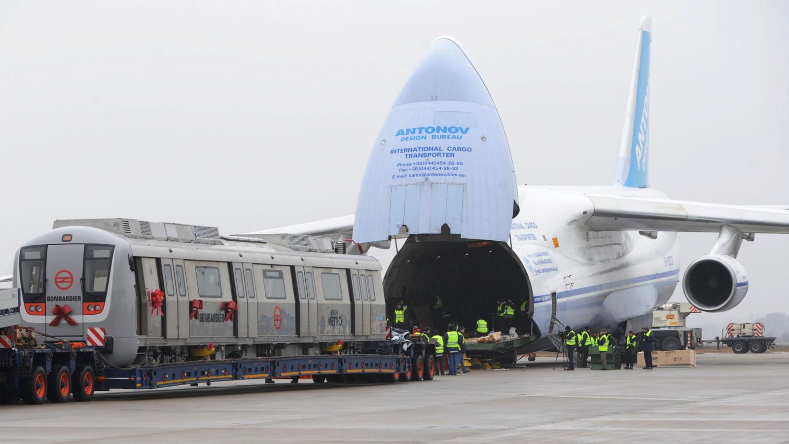 Antonov An 124 Ruslan Loads Bombardier Train Aircraft