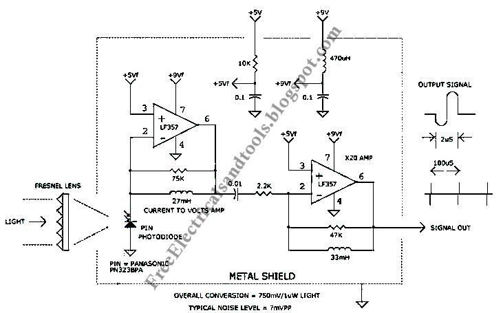 Free Schematic Diagram: 1uS Light Pulse Receiver Circuit