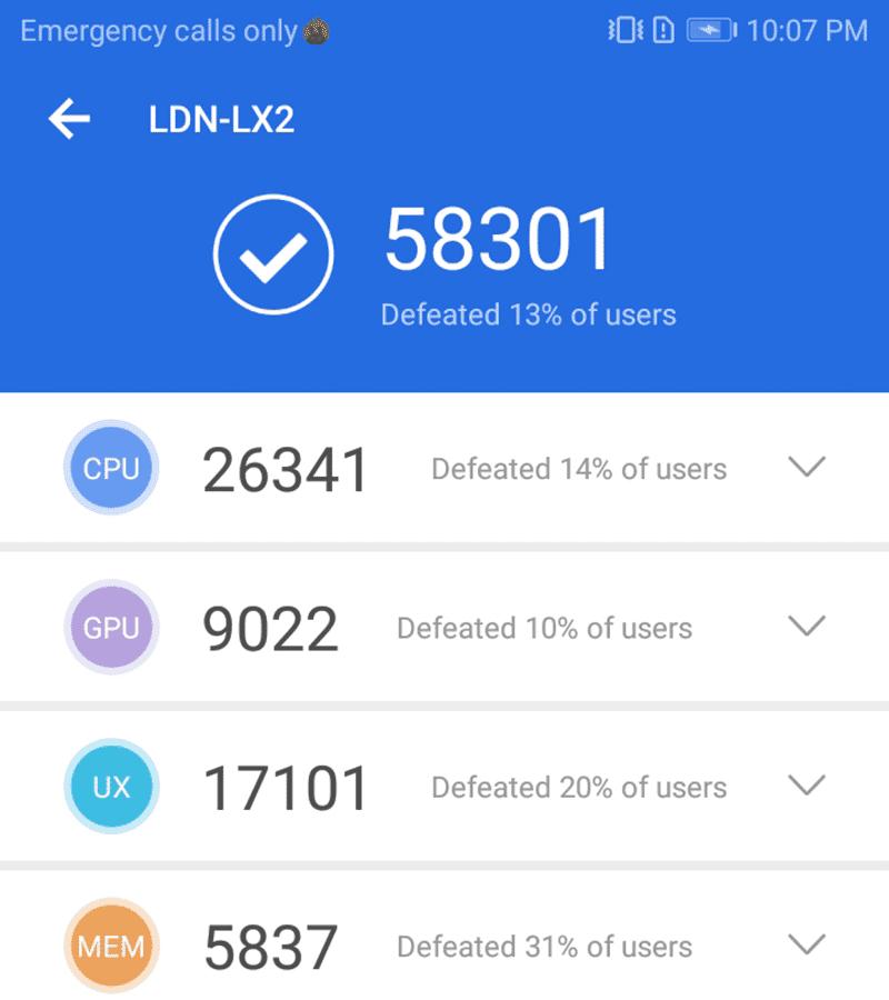 AnTuTu score of the Nova 2 lite