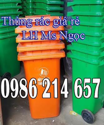thung rac cong cong 120 lit mau cam