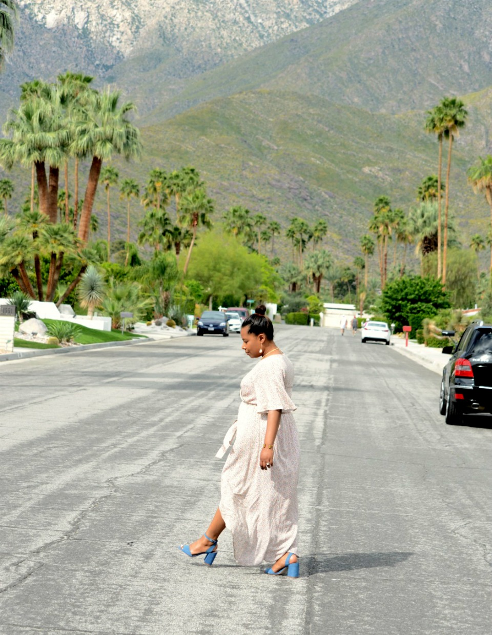 That Pink Door in Palm Springs_Floral high-low Hem Flutter bell sleeves Maxi Spring and summer dress