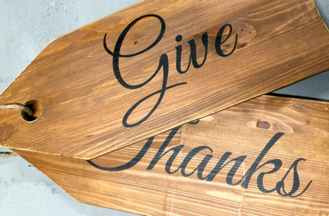 Give thanks wooden tags