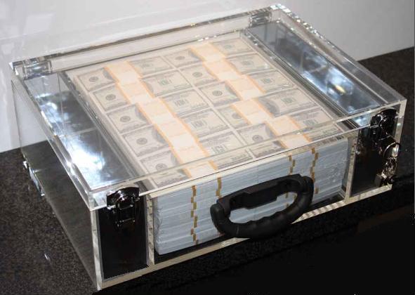 Klaus Guingand artwork: IN GOD WE TRUST - Plexiglas briefcase - 2012. One $ million cash - Klaus Guingand