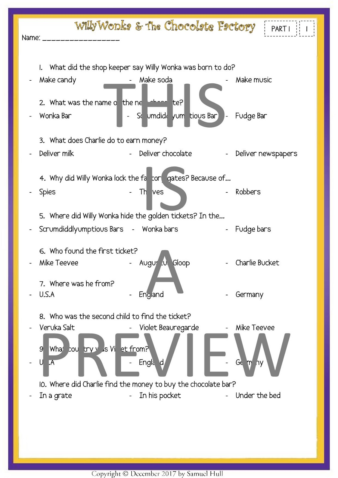 All Worksheets » Charlie And The Chocolate Factory Activities ...