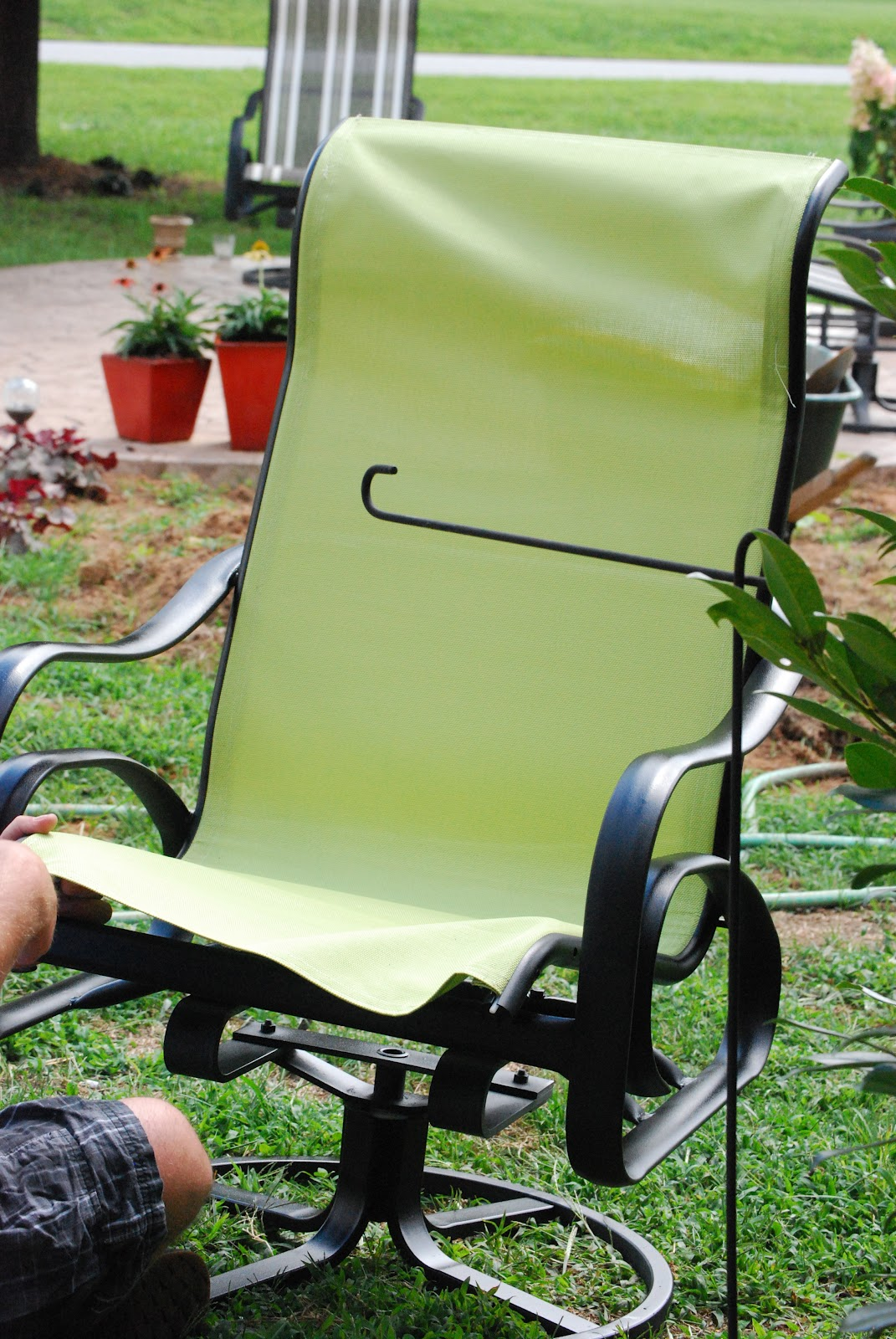 Recover Sling Patio Chairs Small Leather Swivel Club Chair Back