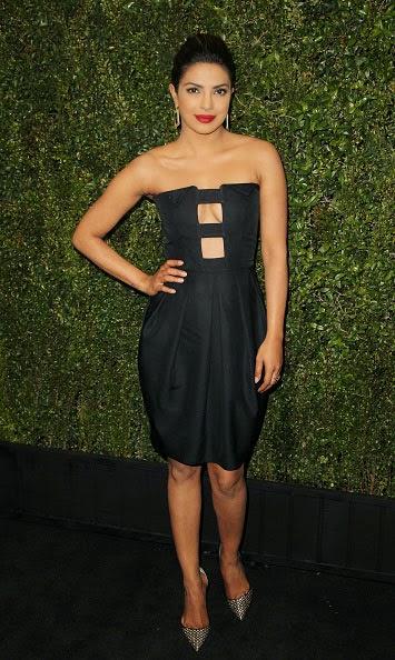 Priyanka Chopra in Black Mini-dress at Pre-Oscar Party