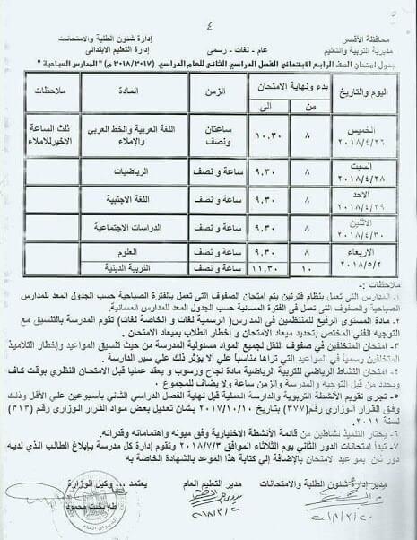 جدول امتحانات الصف الرابع الابتدائي 2018 الترم الثاني محافظة الاقصر