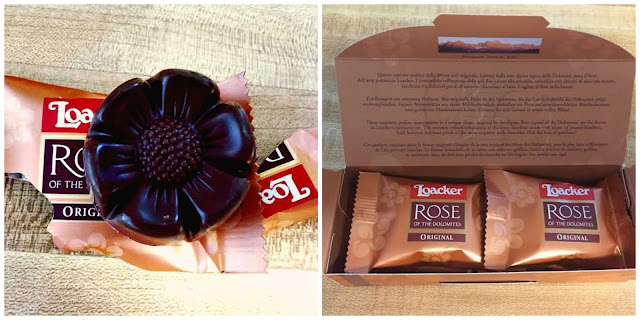 Rose of the Dolomites chocolates individually packaged.