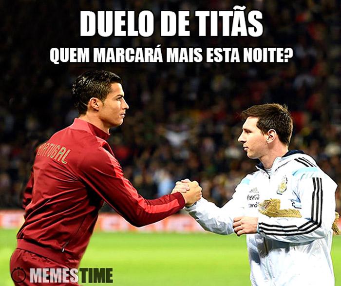 Meme Lionel Messi e Cristiano Ronaldo – Duelo de Titãs Quem vais marcar mais esta noite?