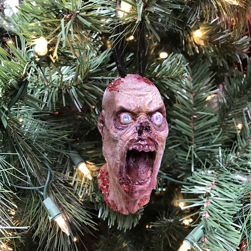 The Movie Sleuth: Images: Hand Sculpted Zombie Christmas Tree Ornament