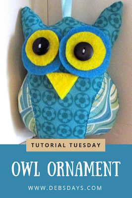 Homemade Fabric Owl Christmas Tree Ornament Sewing Project