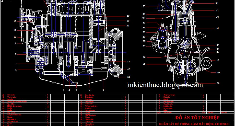 bản vẽ đồ án khảo sát hệ thống làm mát động cơ D226B