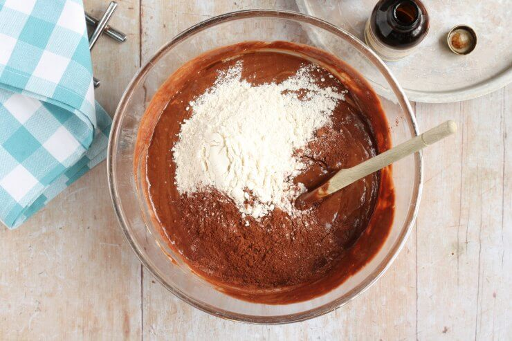 Flour and cocoa mixed into the Nutella Brownie batter