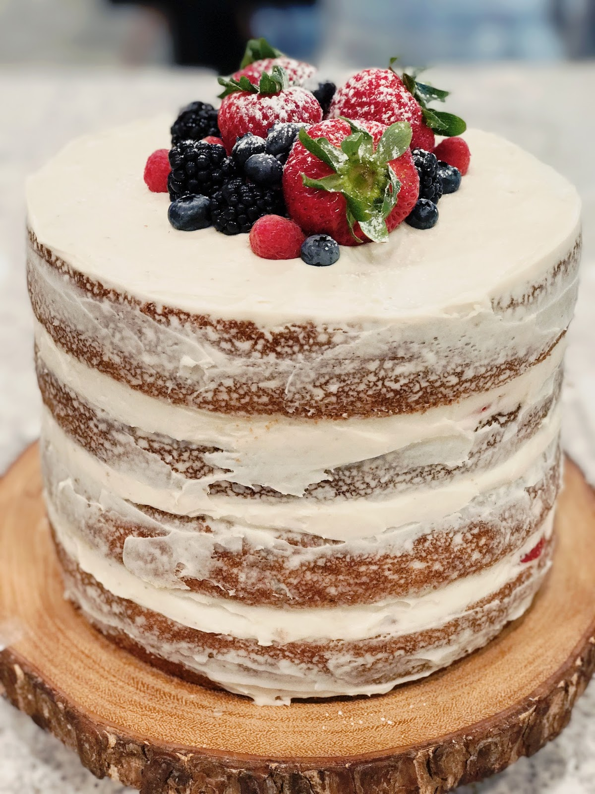rustic naked unfrosted vanilla fruit cake recipe