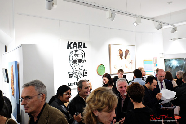 ARO Gallery opening night crowd - Street Fashion Sydney photographed by Kent Johnson.