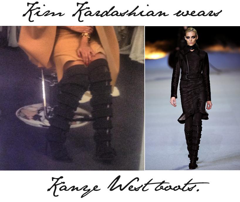 Kim Kardashian wears Kanye West Boots