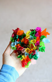 An easy and simple tissue paper heart craft for toddlers and preschoolers from Fun at Home with Kids
