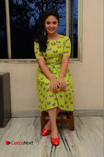 Actress Sri Mukhi Latest Pictures in Green Dress at Mental Movie Audio Launch  0095