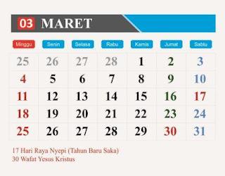 Peristiwa Serangan Umum 1 Maret 1949  01  Hari Kehakiman Nasional  01  Hari KOSTRAD (Komando Strategis Angkatan Darat)  06  Hari Perempuan (Internasional)  08  Hari Musik Nasional  09  Hari Persatuan Artis Film Indonesia (PARFI)  10  Hari Surat Perintah 11 Maret (SUPERSEMAR)  11  Hari Masyarakat Adat  13  Hari Hak Konsumen Sedunia  15  Hari Perawat Nasional  17  Hari Raya Nyepi (Tahun Baru Saka 1940)  17  Hari Arsitektur Indonesia  18  Hari Kehutanan Sedunia (Internasional)  20  Hari Dongeng Sedunia (Internasional)  20  Hari Penghapusan Diskriminasi Rasial (Internasional)  21  Hari Hutan Sedunia  21  Hari Puisi Sedunia (Internasional)  21  Hari Down Sindrom (Internasional)  21  Hari Air Sedunia (Internasional)  22  Hari Tuberkulosis Sedunia (Internasional)  24  Hari Film Indonesia  30  Wafat Yesus Kristus/Jum'at Agung  30