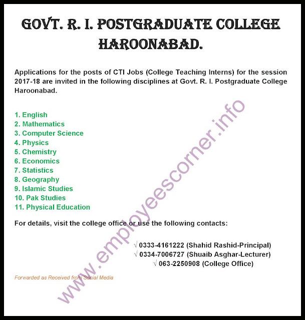 CTI Jobs 2017 Haroonabad Ad