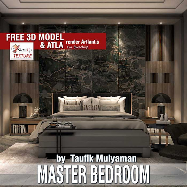 Master bedroom free sketchup 3d model by Taufik Mulyaman