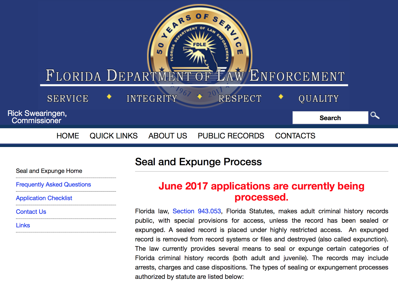 Tampa criminal law blog how long does it take to seal or expunge a you can also check the status of the application by checking fdles website to confirm the month being processed solutioingenieria Images