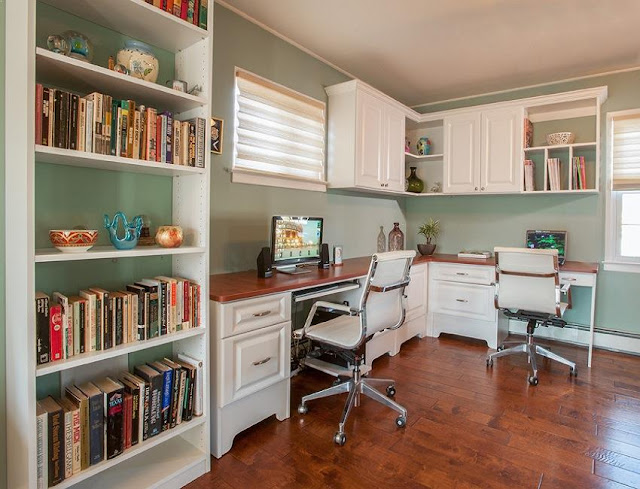 best buy double desk for home office with bookshelves and chairs ideas