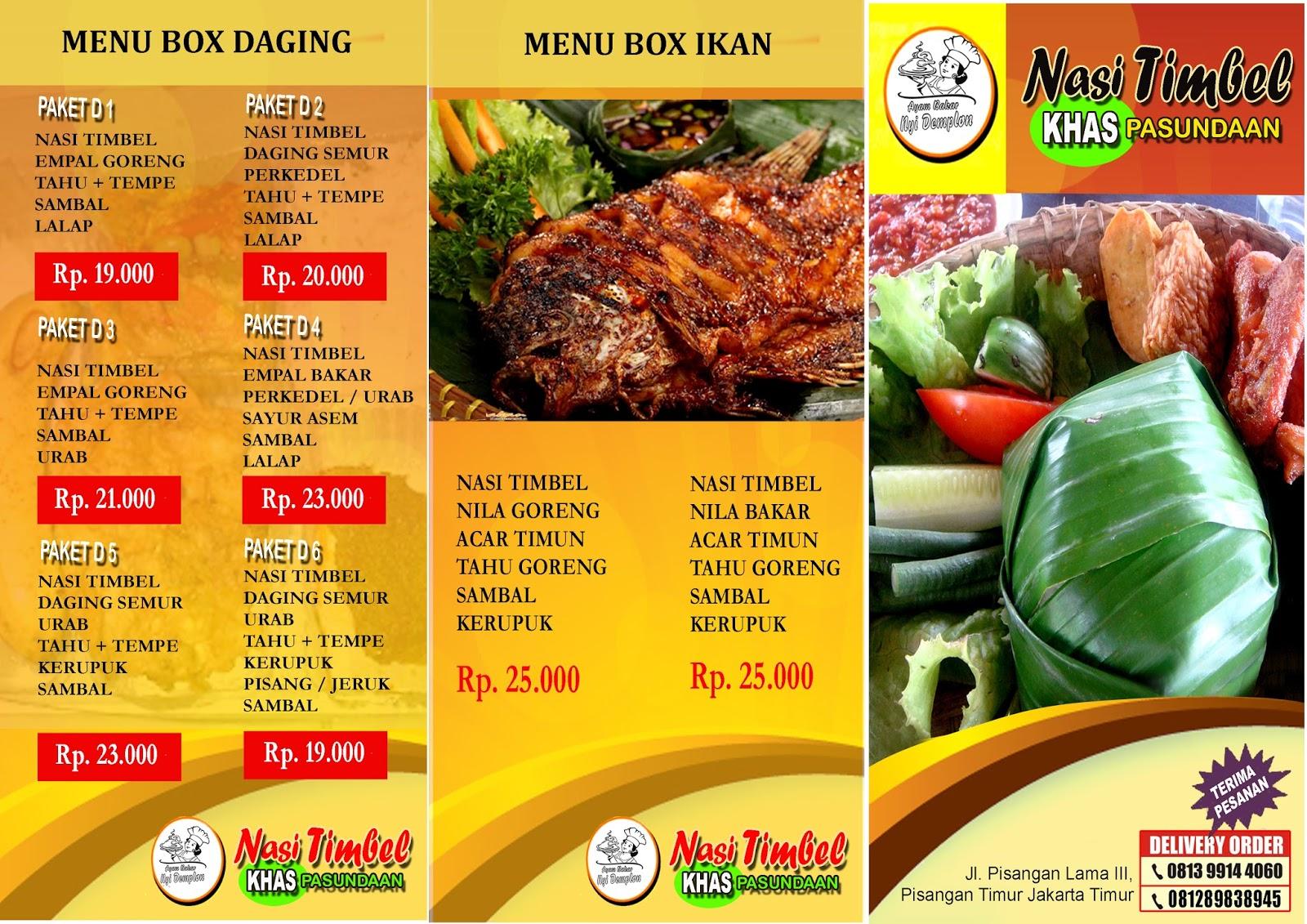 Brosur Makanan Nasi Timbel Fauzi Chaniago