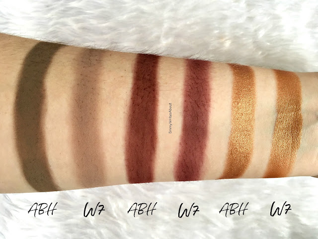 W7 On The Rocks Swatches vs ABH Subculture
