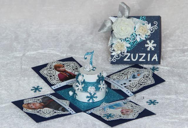 na urodziny, dla dziewczynki,Kraina Lodu, Frozen, exploding box, pomysł na prezent dla dziewczynki, na 7 urodziny dla wnuczki
