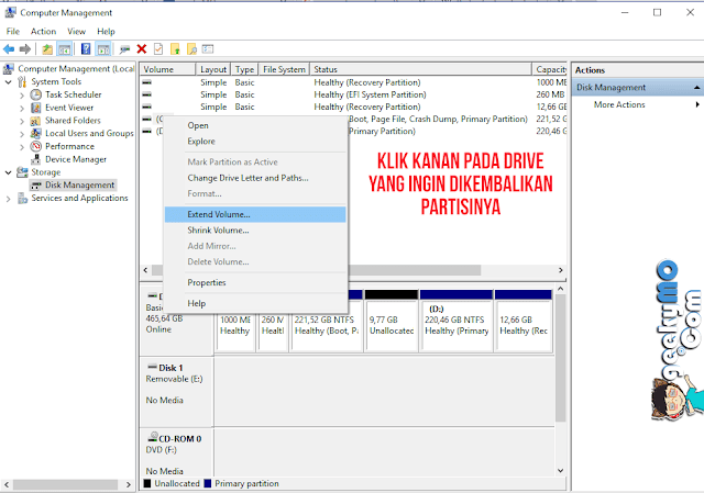 Cara Mengembalikan Partisi Drive di Windows 10