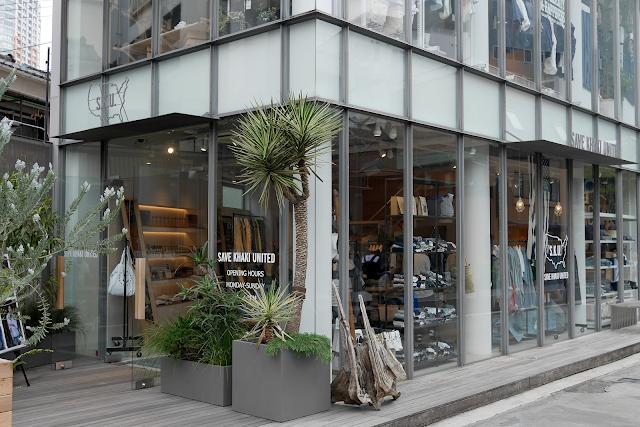 save khaki menswear store front in toyko