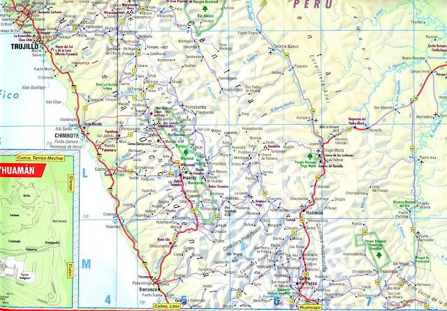 Mapa rodoviário da região de Trujillo - Peru