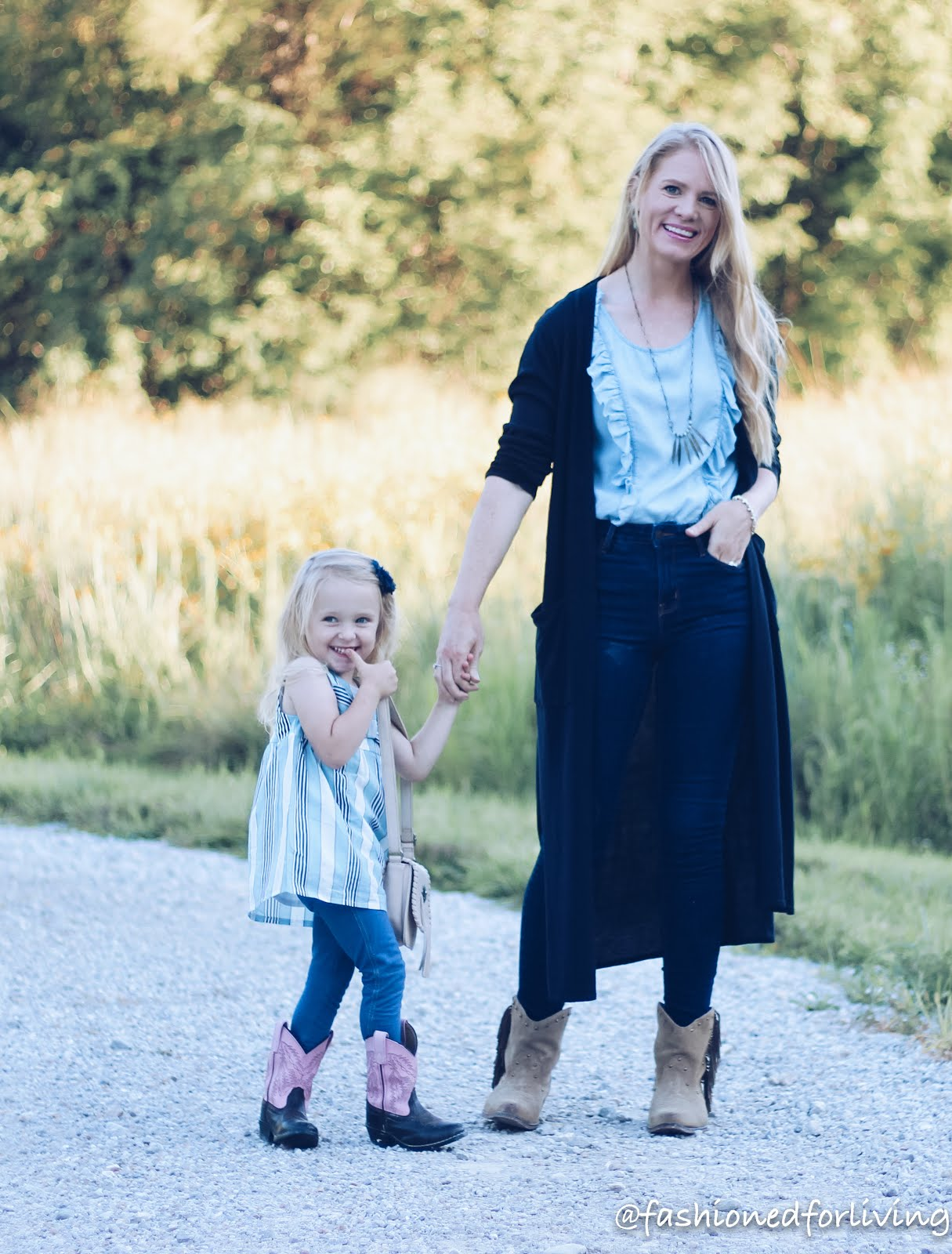 mother/daughter fall cowboy boots outfits