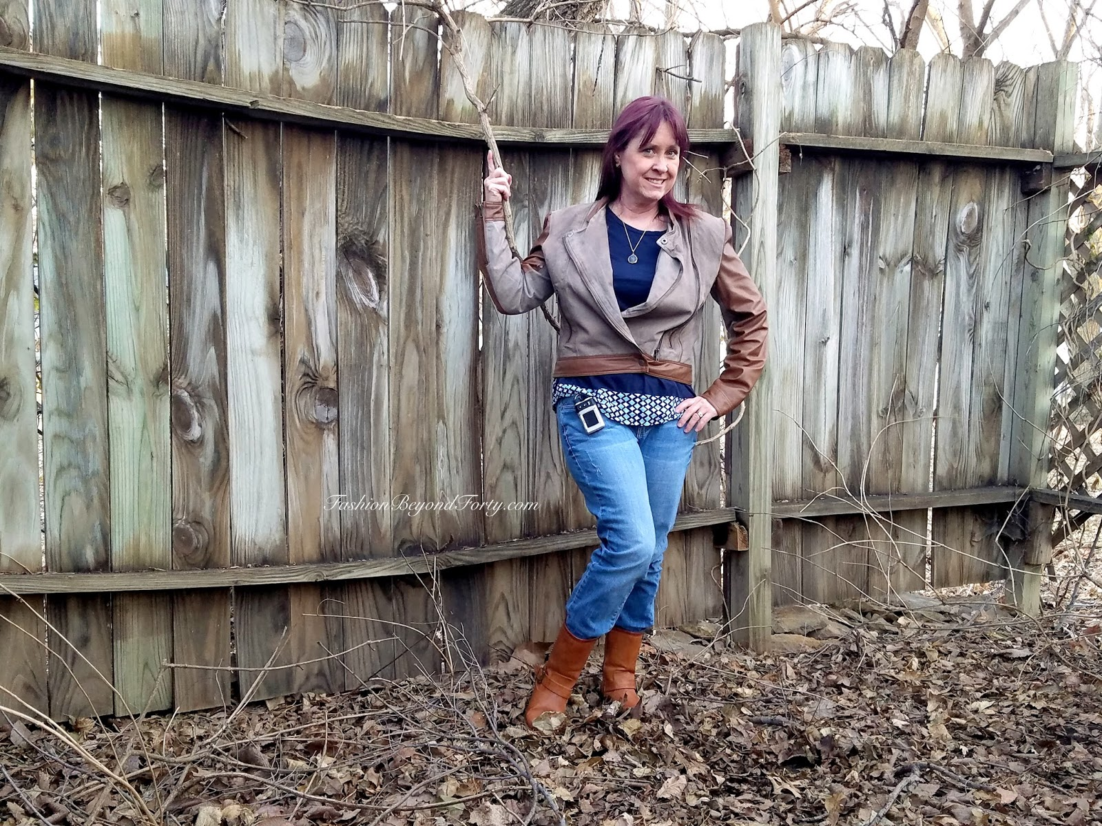 What I Am Wearing Today #23 Fashionably Rustic In Jeans and Vegan Leather