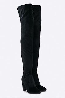 Cizme de iarna peste genunchi negre din catifea elegante cu toc gros - Steve Madden