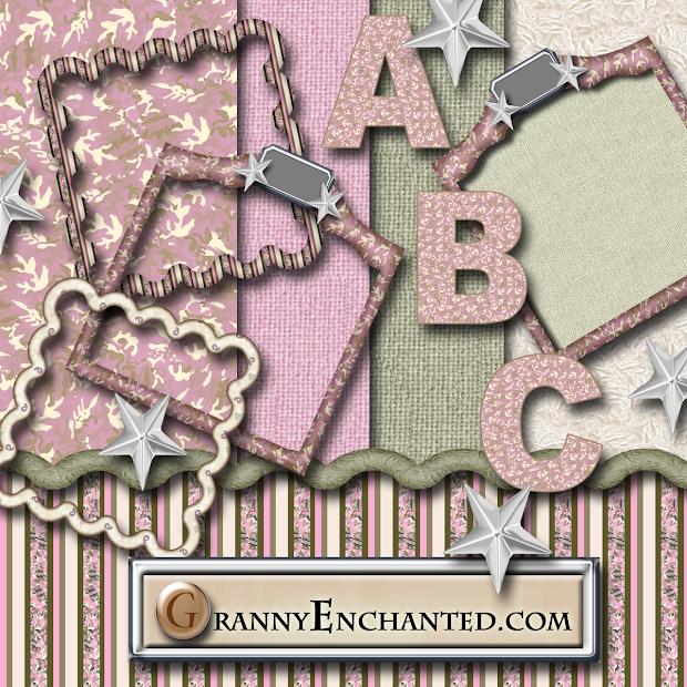 "Granny Enchanted' ""pink Camo"" Free Scrapbook Kit"