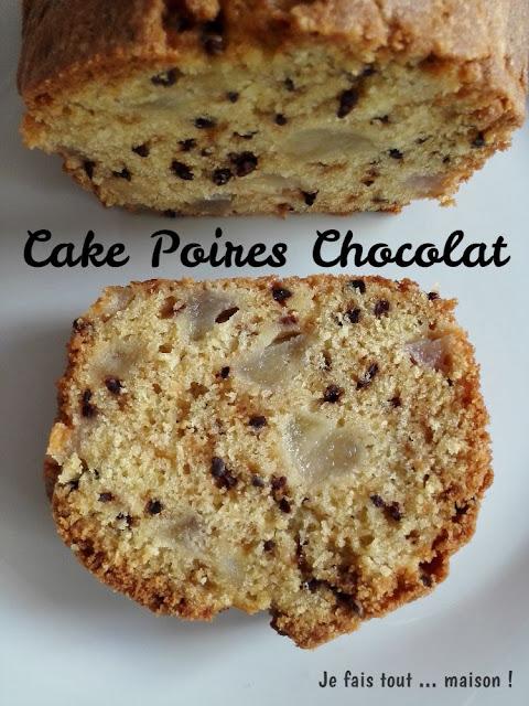 Cake aux poires et grué de cacao