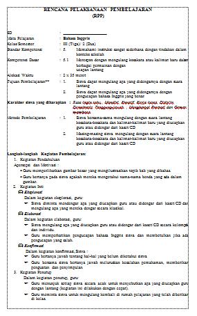 Download RPP Bahasa Inggris Berkarakter SD/MI Kelas 3 Semester 1 dan 2