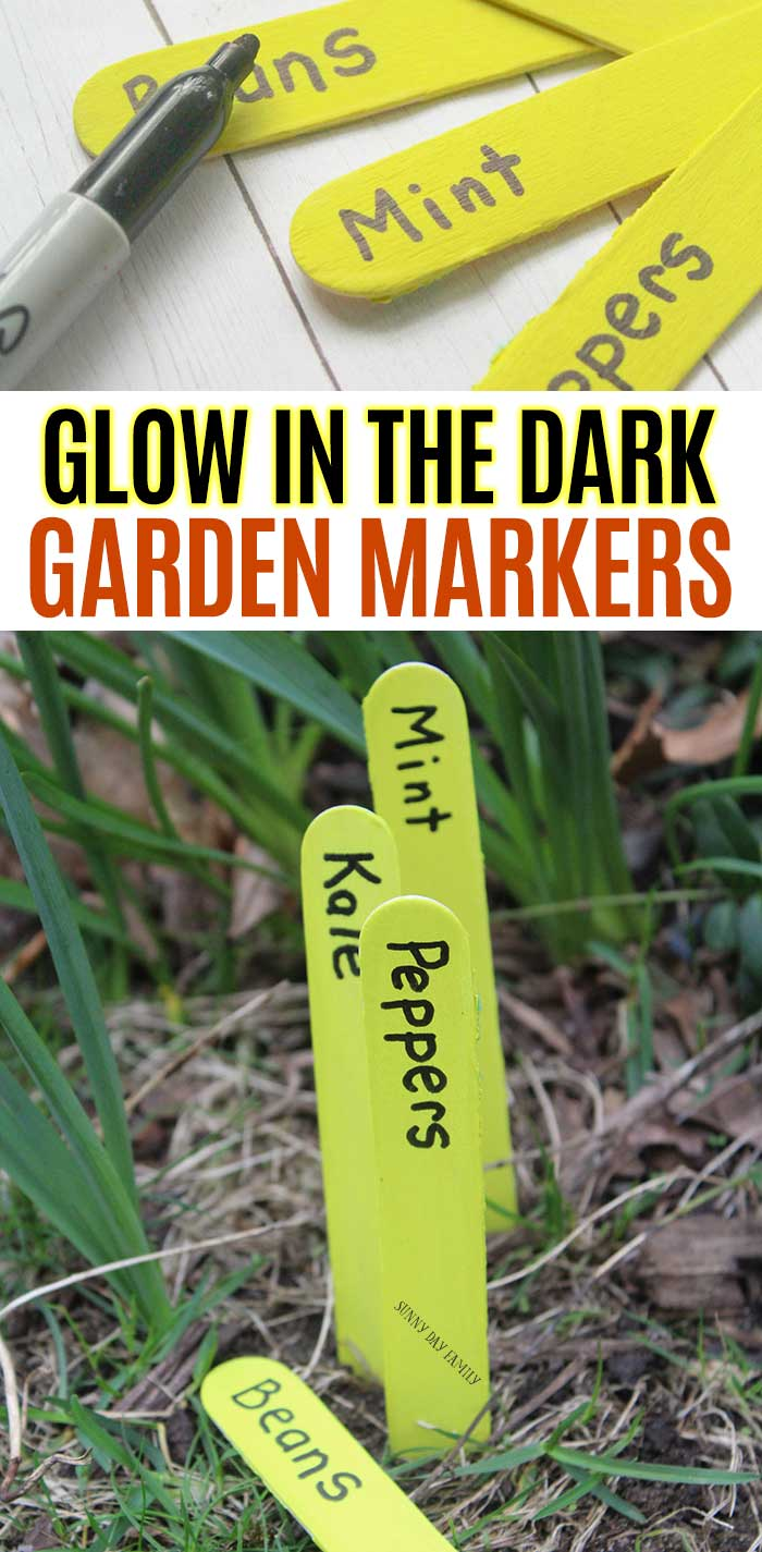 Kids will love to help make these homemade garden markers that glow in the dark! This is a super easy garden project for kids and families to make together. These DIY garden markers require just a few supplies and are fun to create. See how they glow at night for a fun glow in the dark garden! #gardens #gardenideas #gardening #diy #glowinthedark