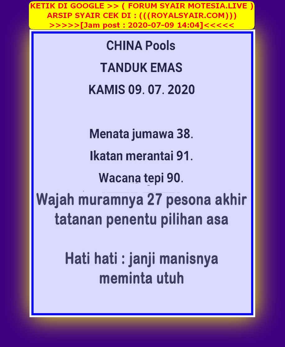 Kode syair Singapore Kamis 9 Juli 2020 21